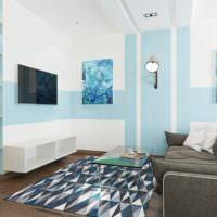 Мятный и белый цвет в окраске стен жилой комнаты