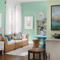 Сочетание мятного цвета с мебелью. из ротанга