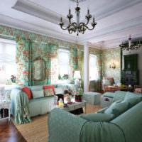 Преобладание мятного цвета в интерьере комнаты