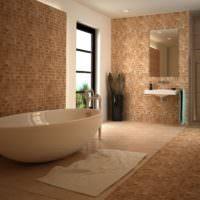 Оформление пола и стен ванной светло-коричневой мозаикой