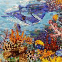 Мозаичной панно с дельфином в ванной
