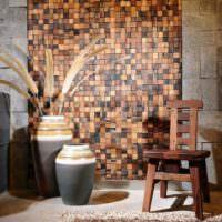 Деревянная мозаика в интерьере гостиной