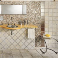 Коричневые тона мозаики в дизайне ванной