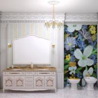 Панно из мозаики над биде в ванной комнате
