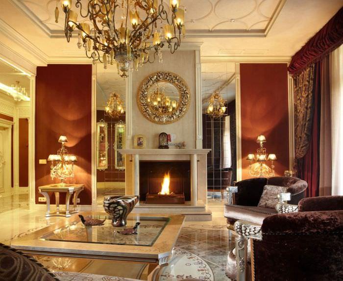 Камин в дизайне гостиной классического стиля