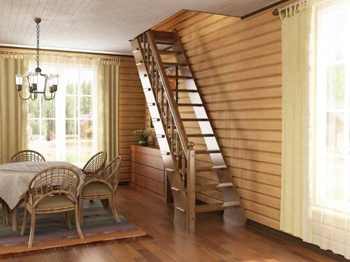 Вариант лестницы для небольшой гостиной загородного дома