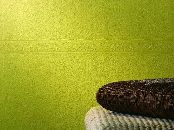 Зеленые обои под покраску с рельефным рисунком