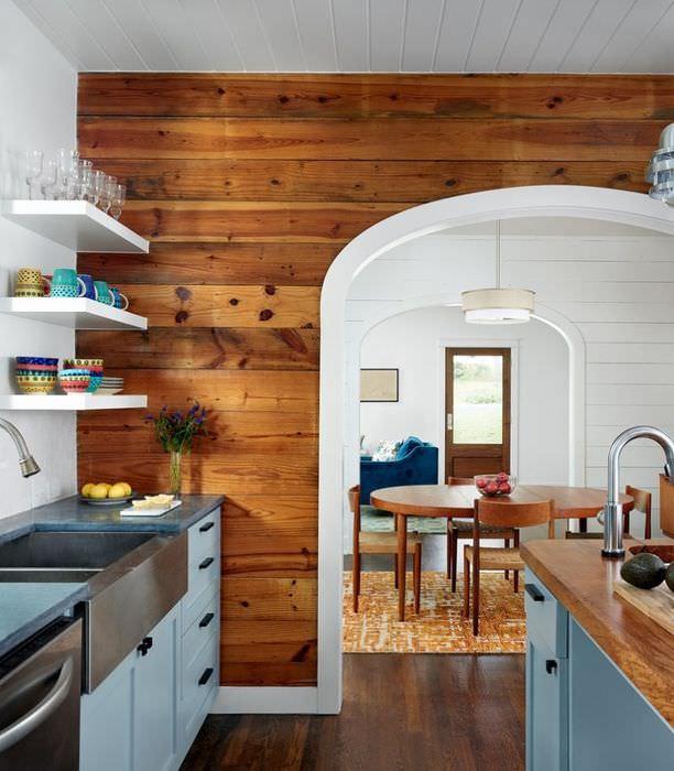 Облицовка кухонной стены влагостойким ламинатом