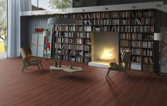 Темно-коричневый ламинат в интерьере комнаты в стиле арт-хаус