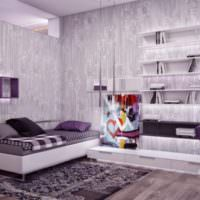 Лавандовый интерьер в комнате подростка