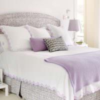 Декорирование спальни предметами в лавандовом цвете
