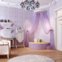 Оформлении женской комнаты с использованием цвета лаванды