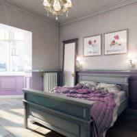 Спальня с лоджией в загородном доме