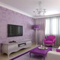Дизайн гостиной в лавандовом цвете