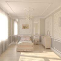 Детская комната в светлых тонах с элементами лепнины