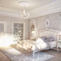 Белая спальня с декоративной лепниной