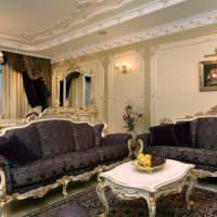 Декоративная лепнина в классическом оформлении гостиной