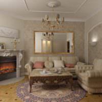 Гостиная в стиле классики с лепным декором