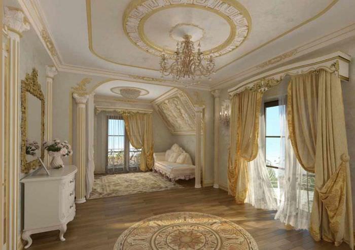 Лепнина из полиуретана в интерьере гостиной комнаты в стиле классицизма