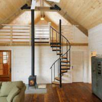 Легкая винтовая лестница на стальном каркасе
