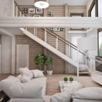 Лестница в гостиной с высокими потолками