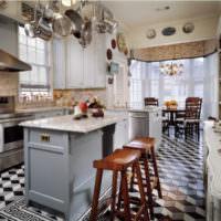 3D линолеум в интерьере кухни в стиле кантри