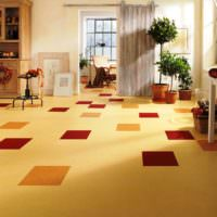 Линолеум песочного цвета в дизайне жилой комнаты