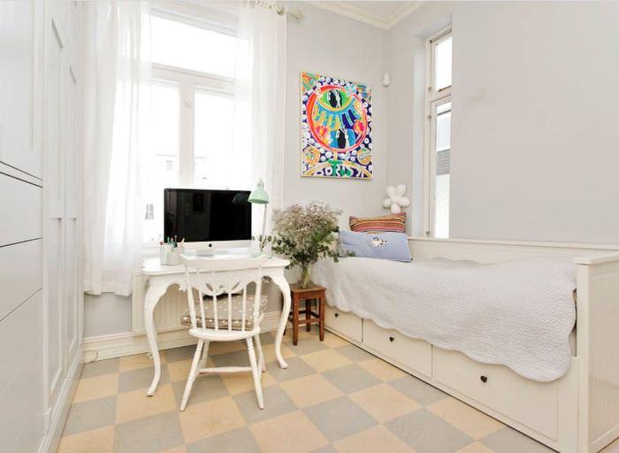 Линолеум светлого оттенка в интерьере комнаты в стиле прованс