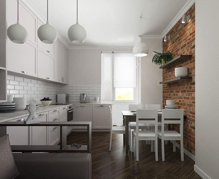 Современная кухня с элементами лофта в виде кирпичной стены