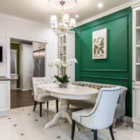 Дизайн жилой комнаты в зеленом и белом цветах