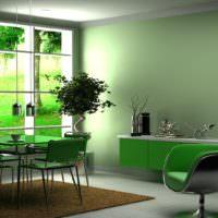 Преобладание зеленых оттенков в гостином помещении