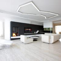 Черно-белая гостиная в стиле минимализма