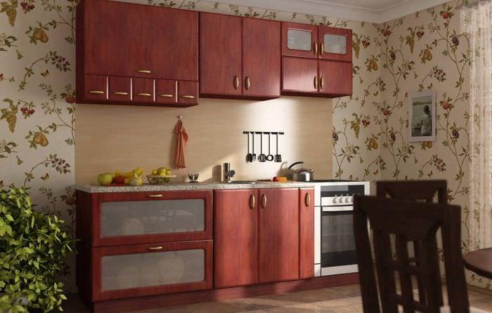 Моющиеся обои в интерьере кухни