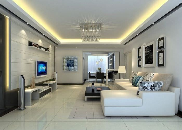Использование молдингов при оформлении комнаты в стиле хай-тек