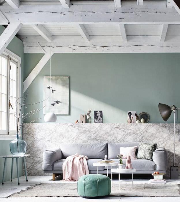 Использование мятного цвета в дизайне жилой комнаты