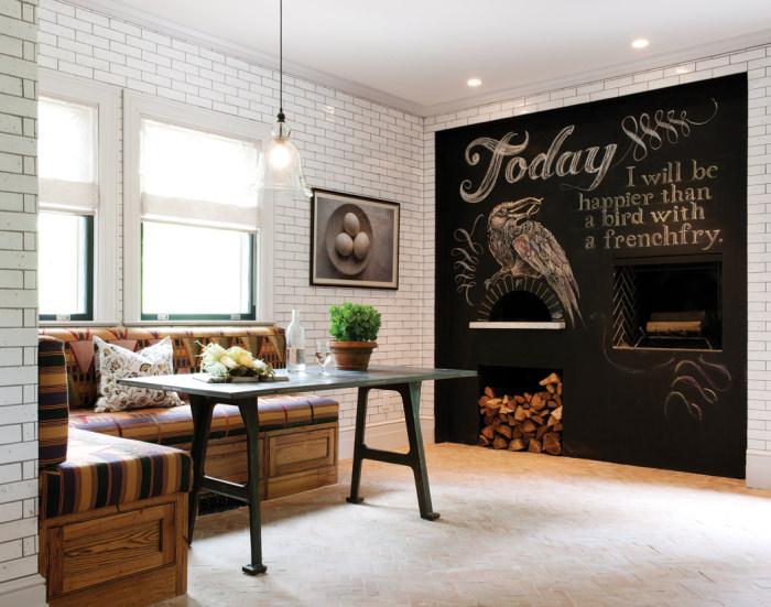 Декорирование стен грифельной доской с надписями мелом