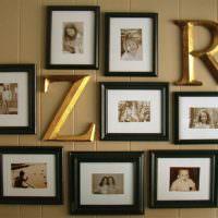 Буквы и картины в дизайне гостиной