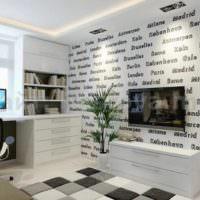 Обои с надписями в дизайне гостиной