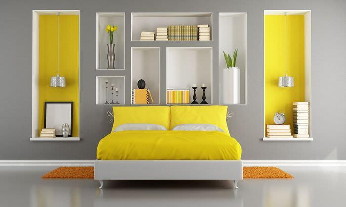 Дизайн спальной комнаты с красивыми нишами