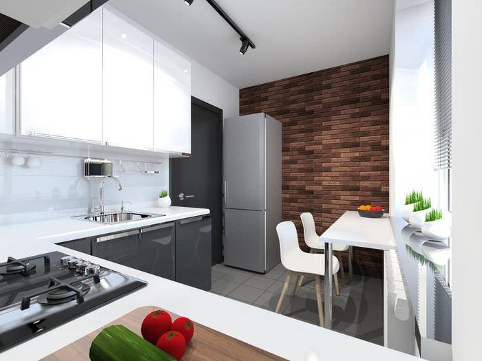 Дизайн кухни в квартире П44Т после перепланировки