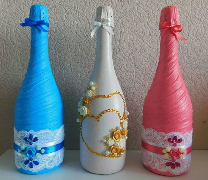 Набор шампанского с декором своими руками для свадьбы