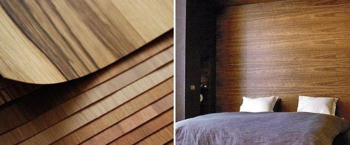 Обои из натурального шпона древесины в интерьере