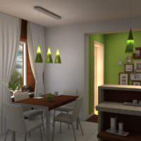 Зеленый и серый цвета в интерьере кухни