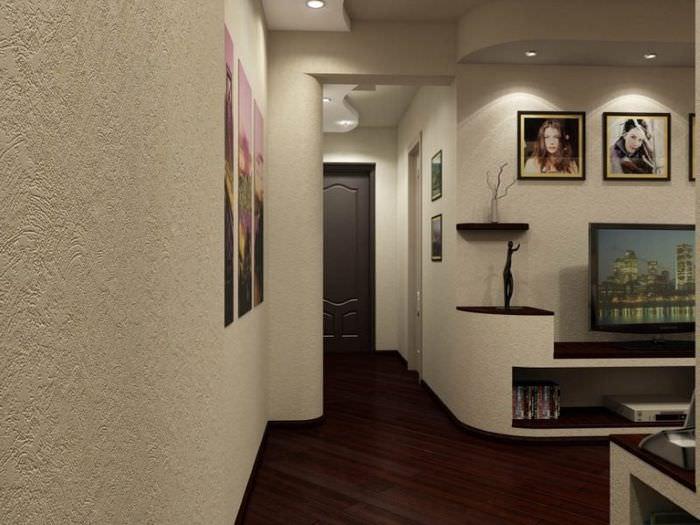 Дизайн гостиной комнаты с обоями под покраску
