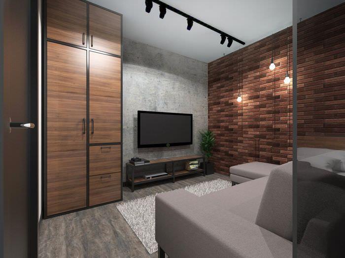 Кирпичная стена в дизайне однокомнатной квартиры в стиле лофт