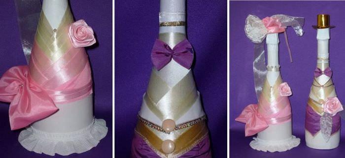 Декор бутылки шампанского с помощью окрашивания и оклейки лентами