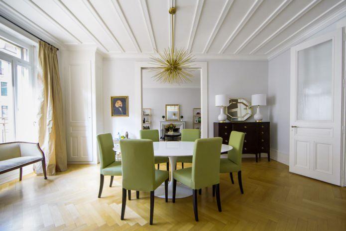 Дизайн гостиной комнаты с оливковыми стульями