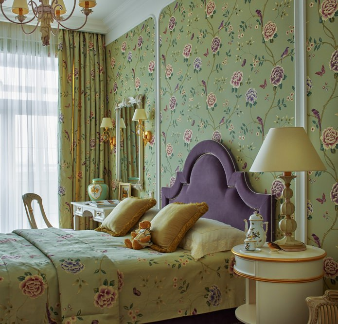 Интерьер спальни в светло-оливковых оттенках