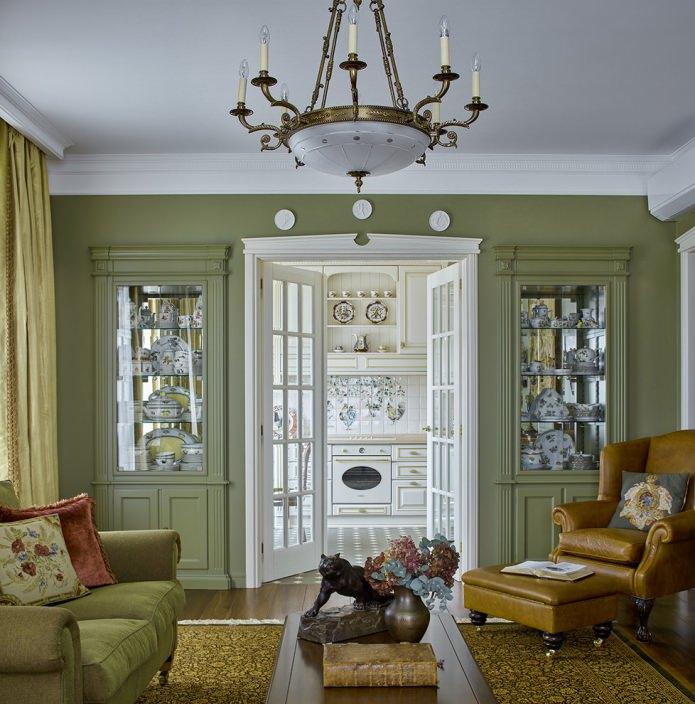 Оливковый цвет в дизайне гостиной классического стиля