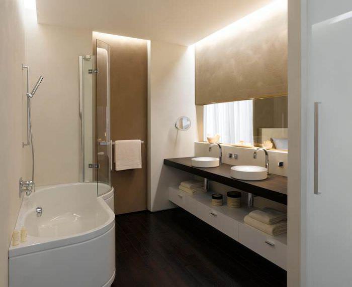 Освещение ванной комнаты с помощью встроенных светильников